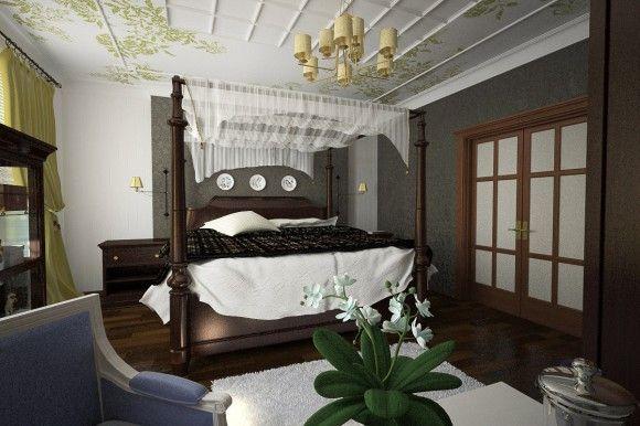 тёмная деревянная кровать в светлом
