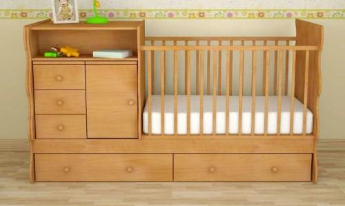 Детская кровать-трансформер в светлом тоне