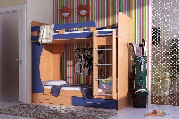 Взрослая двухъярусная кровать с ящиками