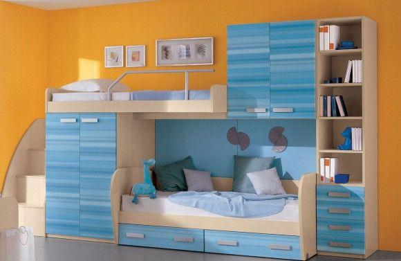 Кровать двухъярусная со шкафом и полками