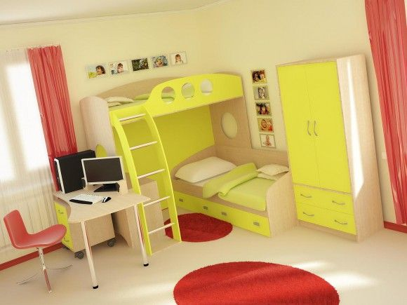 Жёлтая двухъярусная детская кровать