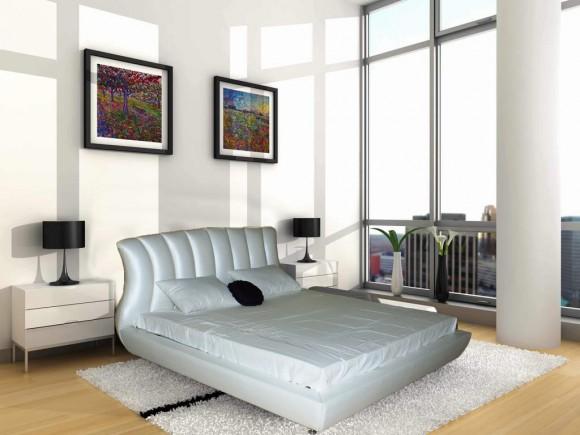 Кожаная кровать с оригинальным изголовьем
