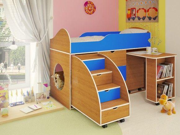 Кровать-чердак с выдвижной лестницей