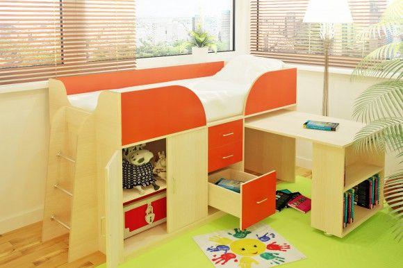 Кровать-чердак с ящиками