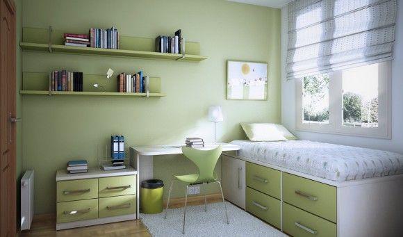 Кровать для подростка в салатовом цвете
