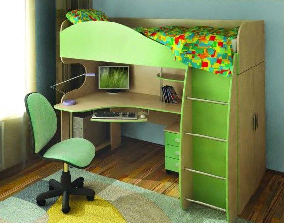 Зелёная кровать трансформер
