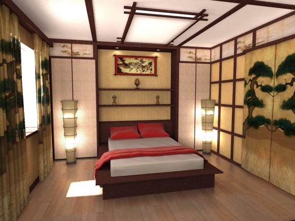 Деревянная кровать в стиле японии