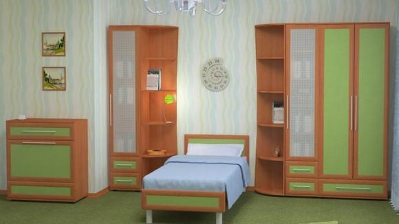 Кровать подростковая в зеленом