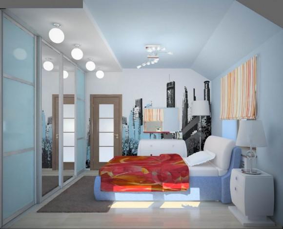 Маленькая спальня в голубом