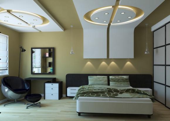 Спальня с разным освещением