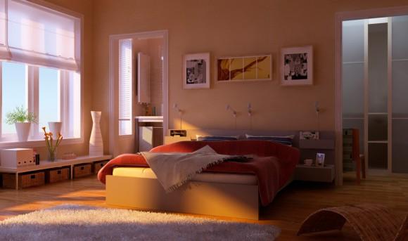 Красивая спальня в тон с картинами
