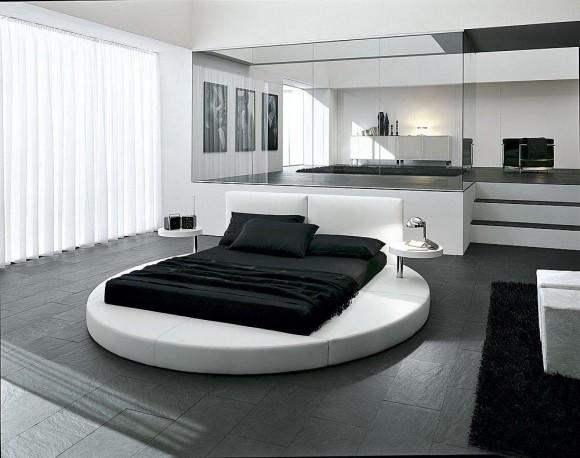 Круглая кровать в спальне модерн