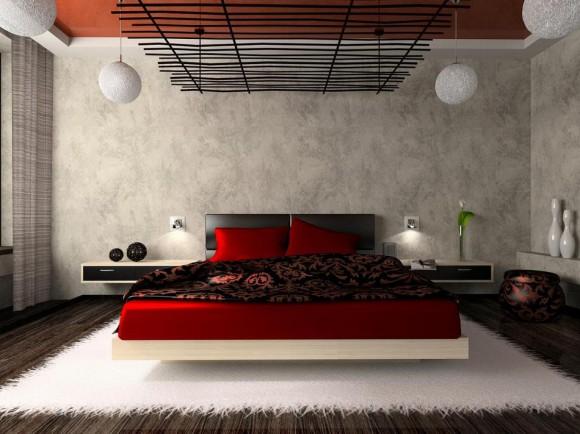 Яркая кровать в спальне