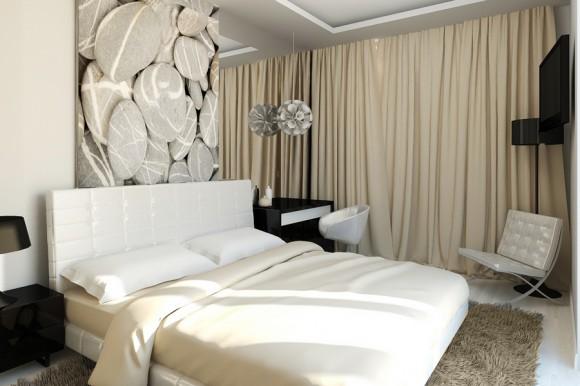 Красивая спальня с зеркалом
