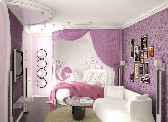 Спальня с круглой кроватью для девушки