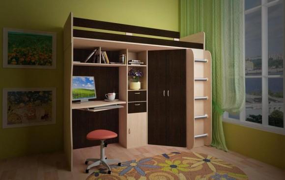 Кровать со шкафом и рабочим местом
