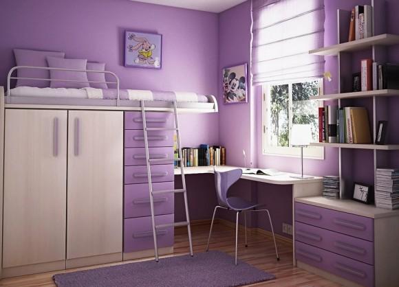 Кровать чердак в фиолетовом цвете