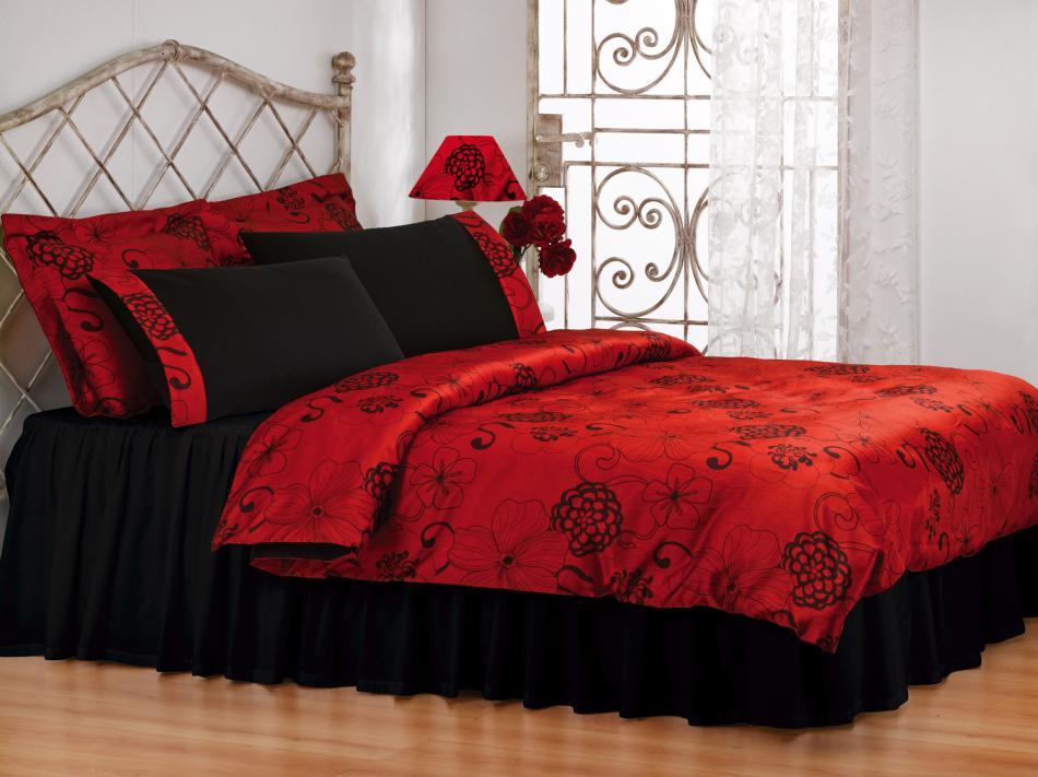 Черный, красный и белый сочетание дизайна комнаты