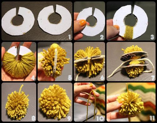 Процесс изготовление помопонов